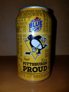 """Pittsburgh Penguins 2017 Labatt Blue Light """" Pittsburgh Proud """" can. Lets Go Pens, Pittsburgh Penguins Hockey, Light Blue, Canning, Bottle, Collection, Flask, Home Canning, Pastel Blue"""
