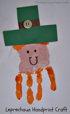 St. Patrick's Day Leprechaun Handprint Craft is super fun for kids!