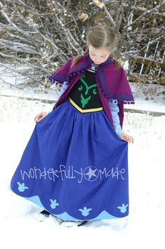 Princess Anna Cape and Dress Full Costume by wonderfullymade139, $110.00