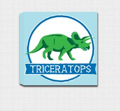 Triceratops -Dinosaur Mounted Canvas Wall Art - Perfect for a little boys room! by JbeeDesign on Etsy