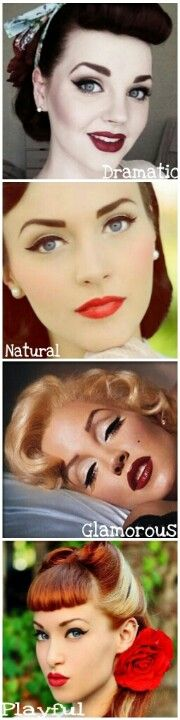 Pin-up & Vintage Makeup Styles. Look at the NATURAL look. I like how calm and smooth it looks.