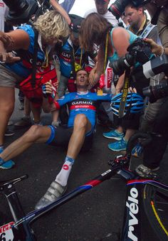 David Millar wins the 140-mile TdF 12th stage in Annonay on July 13, 2012. Photo by Peter Dejong