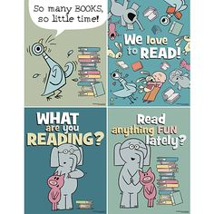 Readers will love this NEW Mo Willems Mini Poster Set! Library Posters, Reading Posters, School Classroom, Classroom Themes, Classroom Quotes, Kindergarten Classroom, Future Classroom, Classroom Organization, Organizing