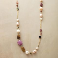 CHOICE TREASURES NECKLACE -- Prevaricate prettily in a pearl, tourmaline and ruby necklace of peachy pearls, shimmering tourmaline and glittering rubies to wear long or doubled; your choice! Artisan Jewelry, Antique Jewelry, Beaded Jewelry, Jewelry Necklaces, Handmade Jewelry, Necklace Ideas, Vintage Jewellery, Diy Jewelry, Ruby Necklace