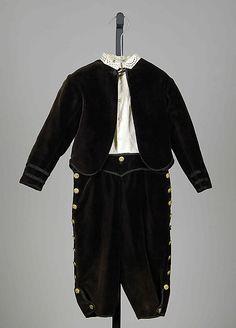 Little Boy's Suit ~ Date: ca. 1860 Culture: American Medium: Cotton, silk, metal