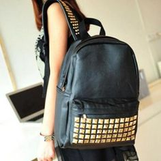 ab601566ed3b Women s NEW Black PU Leather rivets studded School bag Backpack
