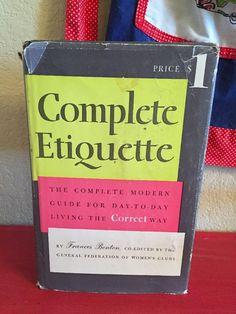 Vtg 1956 Complete Etiquette Frances Benton 1950s Housewife Mid Century Mod   eBay