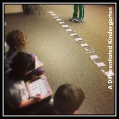 Using a floor sized number line for addition and subtraction practice. Kinesthetic learners love it. Differentiated Kindergarten, Differentiated Instruction, Preschool Math, Math Classroom, Fun Math, Maths, Classroom Ideas, Teaching Subtraction, Addition And Subtraction Practice