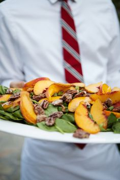 Baby Spinach Salad with Fresh Peaches, Scallions, and Candied Pecans - Summer Wedding Menu Summer Wedding Menu, Wedding Reception, Cocktail Food, Cocktail Recipes, Family Style Weddings, Baby Spinach Salads, Candied Pecans, Peaches, Fresh