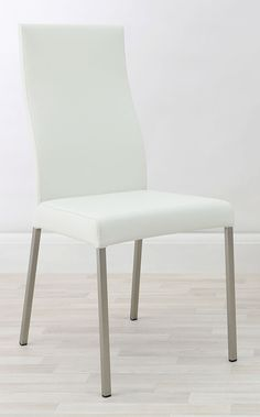 These sleek and stylish Iva real leather dining chairs are elegantly modern, ideal for any contemporary home. Shop at Danetti online today. Leather Dining Chairs, White Interiors, Big Family, All White, Minimalist Home, All Design, Contemporary, Modern, Real Leather