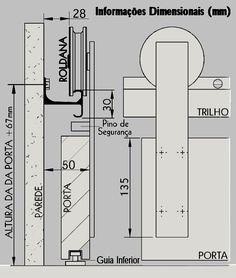 R. J. Diehl :: Kit Porta Residencial / Kit MAD 2,0mt 1p Furniture Layout, Furniture Design, Joinery Details, Interior Architecture, Interior Design, Door Detail, Sliding Doors, Floor Plans, Sliding Barn Doors