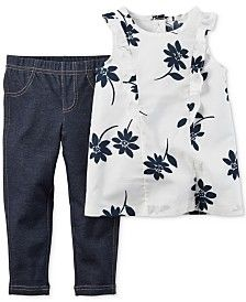 Carter's Baby Girls' 2-Piece Flower Tunic & Jeggings Set