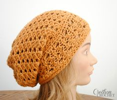 This free slouchy hat patterns utilizes trinity stitches in two different ways, offset on the band and stacked in the body of the hat for a great textured look.  Has photo tutorial for joining band.