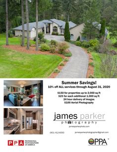 Summer Special - 10% off all services!  Serving Portland metro area, Washougal, Camas, Vancouver, and surrounding areas. FAA Licensed drone pilot. Aerial photos and video available! 24 hour turnaround on images. Fast, quality service. Slideshows of images available Ask me how to save even more!  To book your property, contact me now at: James Parker 901-412-6093 jamesparkerphotographer@gmail.com  James Parker is a member of:  Professional Photographers of America.