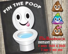 Pin the Poop on the toilet Poster with 3 poop emojis INSTANT