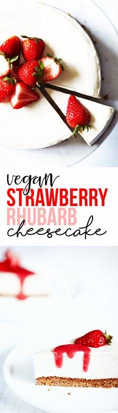 Vegan Cheesecake with Strawberry Rhubarb Sauce — Natural Girl Modern World