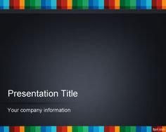 Color strip PowerPoint template background with dark design style