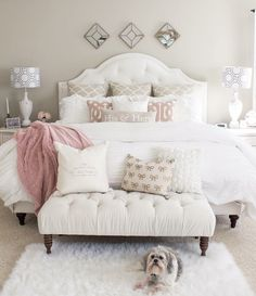 If you are tired of your master bedroom, you can incorporate a few changes that make a big difference. Romantic master bedroom interior design ideas can include updating your wall finishes with a…More Farmhouse Master Bedroom, Master Bedroom Design, Bedroom Designs, Master Bedrooms, White Bedrooms, Master Suite, Pink Master Bedroom, Blush Bedroom, Teen Bedrooms