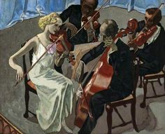 String Quartet John Copley (British, Oil on canvas. In 1909 Copley and Joseph Pennell started the Senefelder Club to publicise and promote lithography as an. Glasgow Museum, String Quartet, English Artists, Art Competitions, Traditional Paintings, Art Uk, Woman Painting, Happy Weekend, Your Paintings