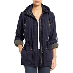 Women's Levi's Parachute Hooded Cotton Utility Jacket ($100) ❤ liked on Polyvore featuring outerwear, jackets, navy, hooded utility jacket, utility anorak jacket, utility jackets, lightweight jackets and blue utility jacket