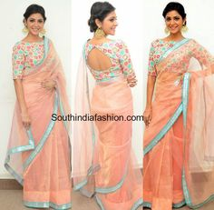 Actress Priyanka Bhardwaj attended the press meet of Mister 420 movie wearing a light peach organza net saree and boat neck blouse