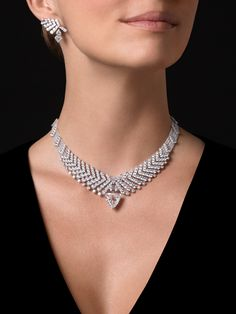 """Rythmic"" Necklace / Brooch - platinum, one E shield-shaped step-cut diamond, one Cartier Necklace, Diamond Necklace Set, Diamond Jewelry, Gold Jewelry, Jewelry Necklaces, Bracelets, Key Necklace, Jewellery Box, Necklace Designs"
