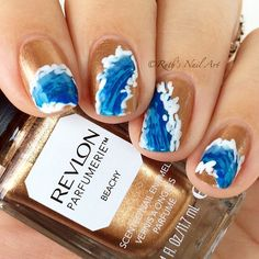 """""""Ocean wave nails using """"Beachy"""" by @revlon. I'm wearing two coats, and painted the waves with nail polish. The scent is amazing too! """""""