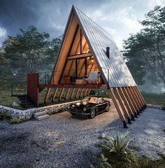 Container Home Designs, A Frame House Plans, A Frame Cabin, Wood Frame House, Wooden House, Tiny House Cabin, Tiny House Design, Tiny Houses, Small Log Cabin