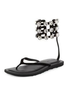 Aubrey+Crystal+Caged+Thong+Sandal,+Black+by+Alexander+Wang+at+Bergdorf+Goodman.