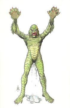 The Creature from the Black Lagoon by William Stout, in matthew reed 's Character: Creature from the Black Lagoon Comic Art Gallery Room Classic Monster Movies, Classic Horror Movies, Classic Monsters, Cool Monsters, Horror Monsters, Comic Books Art, Comic Art, Frankenstein, Monster Art