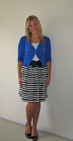 black and white striped skirt with royal blue cardigan...love the color/pattern combination!