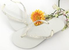 d97b950bd8e Custom White Havaianas Slim Flip Flops w  Ivory Cream Crystal Moonlight  Swarovski Rhinestone jewel Glass Slipper Bridal Wedding Shoes Thong