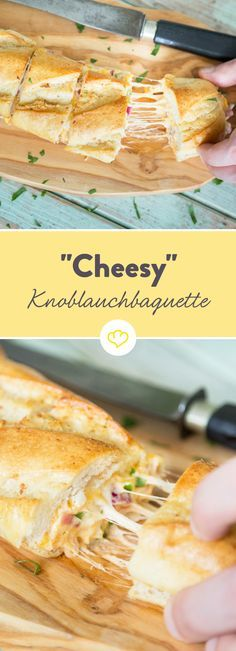"""""""Cheesy"""" Baguette mit Knoblauchbutter A really good box is not occupied, but filled. And with a creamy cream cheese cream, bacon, mozzarella and cheddar. Party Finger Foods, Snacks Für Party, Grilling Recipes, Snack Recipes, Cooking Recipes, Pizza Recipes, Soul Food, Food Inspiration, Cheddar"""