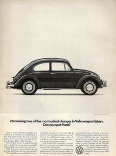 Vintage 1966 advertisement for VW Beetle. Ad print that will have you staring at the walls - literally! Can you spot the changes that Volkswagen made? Need a hint or two? Look at the front and back of