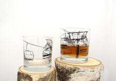 Ski Lift Whiskey Glasses - Set of Two Small Tumblers | Gift Guide | For Him | For Your Coworker | For Your Boss | Affiliate