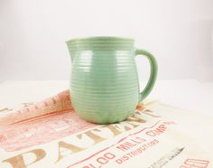 A 'Western' Mint Green Glazed, Stoneware Pitcher From 'Western Pottery' - Wide Mouth - Very Good Condition - Ready to Use - Perfect Size by TheBrownSuitcase on Etsy https://www.etsy.com/listing/279625628/a-western-mint-green-glazed-stoneware