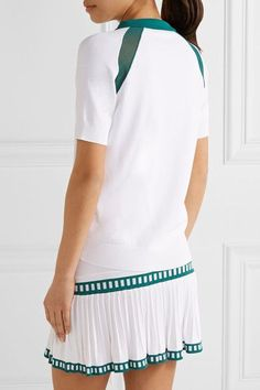 L'Etoile Sport - Medea Two-tone Mesh-paneled Stretch-knit Polo Shirt - White - x small