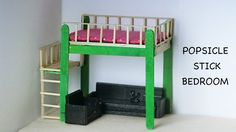 Miniature Doll Bedroom & Furniture | Easy Popsicle stick Crafts
