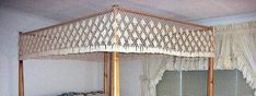 Fishnet Canopy Queen Size - Lovers Knot Design (others available) Canopy Frame, Canopy Cover, Ceiling Air Conditioner, Queen Size Canopy Bed, Bed Measurements, Wood Arch, Bed Company, Cotton Bedding, Drops Design