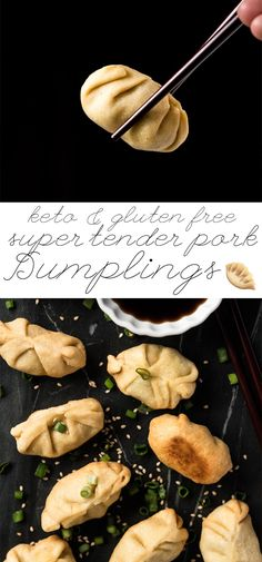 Gluten Free, Grain Free & Keto friendly Low Carb Dumplings 🍜 Super tender, lightly fried and filled with steamed ginger pork! Keto Foods, Ketogenic Recipes, Keto Snacks, Keto Meal, Pescatarian Recipes, Gluten Free Grains, Gluten Free Recipes, Low Carb Recipes, Cooking Recipes