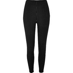 Black pinstripe high rise leggings £22.00 - River Island