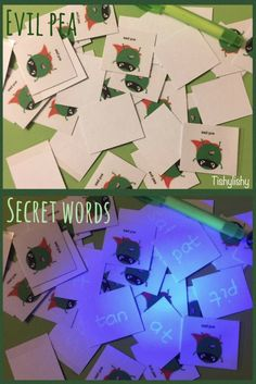 Secret words with Evil Pea. Using a uv pen and torch. Eyfs Classroom, Superhero Classroom, Superhero Writing, Phonics Games, Phonics Reading, Phonics Activities, Reading Activities, Phonics Display, Writing Area