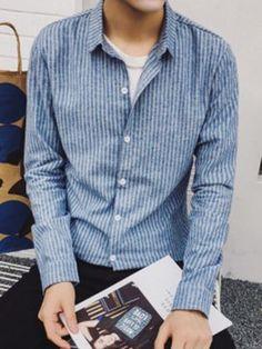 ストライプデザインメンズ長袖カジュアルシャツ