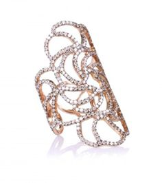 18KT ROSE GOLD LACE RING WITH BROWN DIAMONDS
