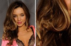 Beautiful brown hair color with highlights