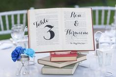 table number book centerpieces with names of couples from literary works