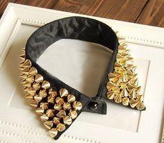 Gold studded black collar
