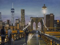 Realist oil NYC paintings and artist's new series with nature and botanicals New Series, Brooklyn Bridge, New York City, New York Skyline, Nyc, Studio, Nature, Artist, Painting