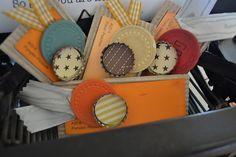 Paint chips, vintage poker chips & bottle caps for nametags