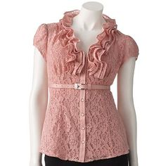 Pink ruffled top with cap sleeves. I absolutely love this